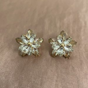 Gold & Crystal Stud Earrings